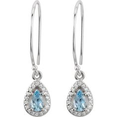 14K White Genuine Aqua & 1/10 ct tw Diamond Halo-Styled Dangle Earrings | Stuller.com- Available at Murphey the Jeweler.
