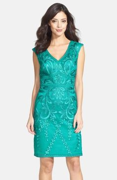 3f07546e672 Free shipping and returns on Sue Wong Embroidered Sheath Dress at  Nordstrom.com. Gleaming