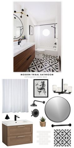 A modern black and white tribal bathroom design by Erin Williamson of Design Crisis recreated for less by Copy Cat Chic by @audreycdyer