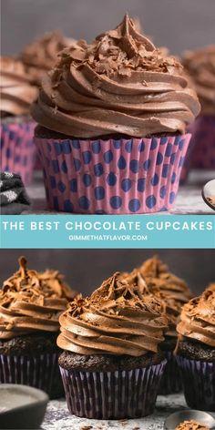 Homemade Chocolate Cupcakes, Chocolate Desserts, Chocolate Buttercream, Buttercream Cupcakes, Simple Chocolate Cupcake Recipe, Chocolate Coffee Cupcakes, Nutella Cupcakes, Delicious Cake Recipes, Best Dessert Recipes