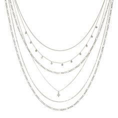 The Hammered Cross Multi Charm Necklace- Silver