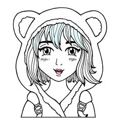 Kostenloses Ausmalbild Manga Mädchen mit Katzenohren ...