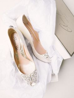 White Aruna Seth bridal shoes embellished with Swarovski crystal butterfly // Afternoon Tea at Downton Abbey: A Styled Wedding Shoot {Facebook and Instagram: The Wedding Scoop}