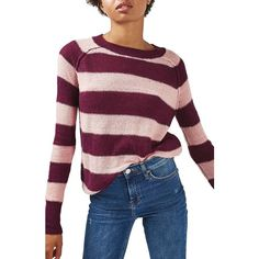 Women's Topshop Gauzy Stripe Sweater ($65) ❤ liked on Polyvore featuring tops, sweaters, berry red multi, red striped sweater, red stripe sweater, red striped top, ribbed top and purple top
