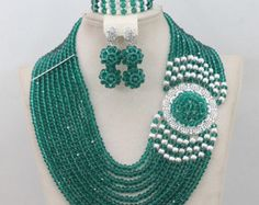 8 layer African Nigerian beads wedding Party Necklace set by Eaoza