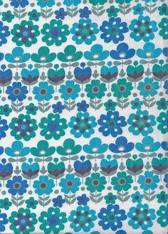Vintage 1970s Blue/Turquoise Mod Flower Fabric by Pommedejour, $42.00