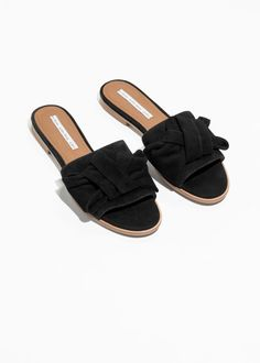 34998662949 Back image of Stories knotted suede slip ons in black Suede Flats