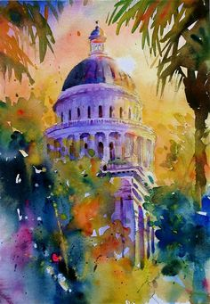 California State Capitol Building -- painted by David Lobenerg Watercolor Architecture, Art And Architecture, Building Painting, Wow Art, Beautiful Paintings, Landscape Art, Monuments, Painting Inspiration, Painting & Drawing