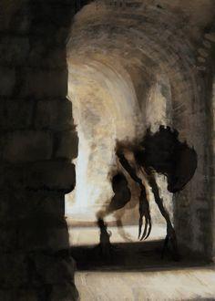 Shadow by Matheus Graef for the game Nevera Wars : creepy Dark Fantasy Art, Dark Art, Arte Horror, Horror Art, Shadow Monster, Monster Art, Fantasy Creatures, Mythical Creatures, Art Sinistre