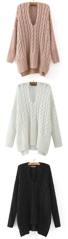 Fashion trend comes with the knitted sweater. It features deep V neck and twist pattern in a casual style. Over in it in a real way at CUPSHE.COM now.