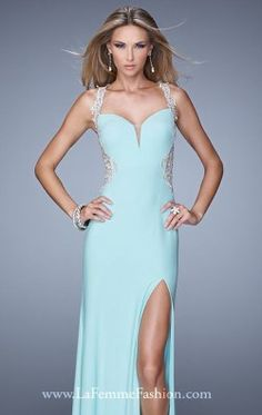 Sweetheart Slit Gown by La Femme 21024