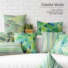 6 Colors Modern Style Color Geometric Printed Cotton Linen Pillow Case Cushion…