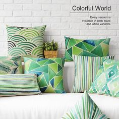 6 Colors Modern Style Color Geometric Printed Cotton Linen Pillow Case Cushion…