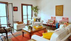 colofull living room and loving the big windows/doors