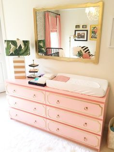 Edie's Palm Beach Inspired Nursery - Project Nursery IKEA Malm painted with Glidden Light Coral Sunset – love this IKEA hack! Flamingo Nursery, Coral Nursery, Ikea Nursery, Nursery Room, Tropical Nursery Decor, Pink And Green Nursery, Jungle Nursery, Elephant Nursery, Ikea Malm Dresser