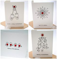 18 wonderful Christmas cards you can make in just 30 minutes – Christmas DIY Holiday Cards Create Christmas Cards, Christmas Card Crafts, Homemade Christmas Cards, Christmas Drawing, Homemade Cards, Handmade Christmas, Holiday Cards, Christmas Decorations, Cosy Christmas