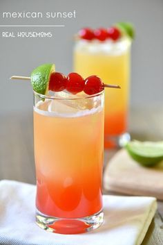 Mexican Sunset is a gorgeous tequila cocktail perfect for Cinco de Mayo, or just relaxing on the back porch! Grenadine slice of lime Maraschino Cherries Cocktails Vin, Tequila Drinks, Bar Drinks, Cocktail Drinks, Cocktail Recipes, Beverages, Tequilla Cocktails, Peach Schnapps Drinks, Mixed Drinks With Tequila