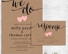 Milly Rustic Wedding Invitation Suite by Paper Hive Studio Our Milly wedding invitation suite is perfect for a rustic wedding with modern flair. Featuring a calligraphy header and hand drawn hearts on a kraft background. Please note: This invite features lowercase lettering for the entire invite. If you would like capital letters for proper nouns, please specify your preference in the notes to paperhive section of your shopping cart when you check-out. Heart colors may be updated to your…