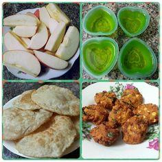 Today's Special  #apples #jelly #banana #pooris #masalavada