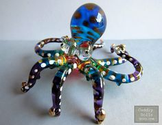 Blue Head OCTOPUS Hand-Blown Painted Glass Animal Figurine