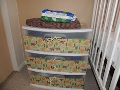 Large Plastic Storage Bins Decoupaged With Mod Podge And S Booking Paper