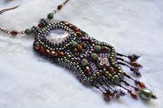 Amethyst Bead embroidery necklace Elegant evening necklace Gemstone beadwork Unique gift idea Beaded jewelry Boho Beadwork necklace