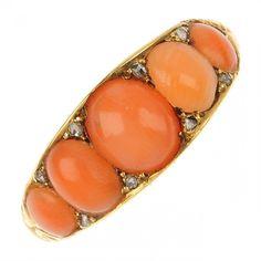 Antique Victorian Coral & Diamond Ring