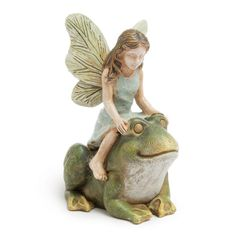 Hopping a Ride Fairy Garden Miniatures  $8.99 Another race through the miniature fairy garden! This time the fairies have hopped onto their frog friends! Dimensions: 2.25 W x 3 H Hand-coated All-weather paint