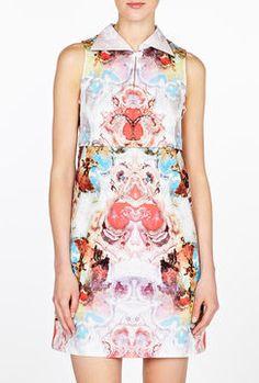 ShopStyle: Carven Watercolour Artist Print Cotton Shirt Dress