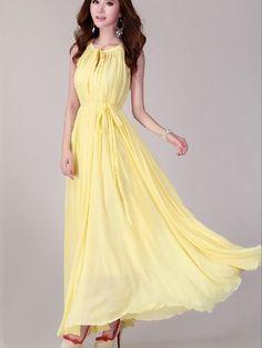yellow Long chiffon dress Evening Wedding Party by DressOriginal