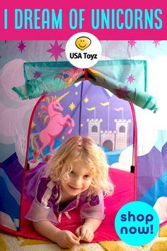Misty Mountain Unicorn Play Tent with Unicorn Headband Party Favors For Kids Birthday, Unicorn Birthday Parties, Unicorn Party, Toddler Play Tent, Girls Playhouse, Playhouse Outdoor, Indoor Tents, Unicorn Horn Headband, Secret Hideaway