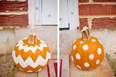 Chevron and polka dot painted pumpkins. Cute!
