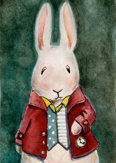 """""""The White Rabbit"""" - by Christy Obalek. ~Watercolor, Pen and Ink Go Ask Alice, Holiday Images, Make Believe, Beautiful Artwork, Alice In Wonderland, Cute Pictures, Bunny, Snoopy, Teddy Bear"""