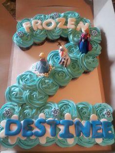 Frozen, number 2 cupcake cake