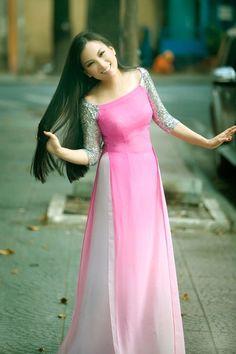 Pink fancy ao dai: