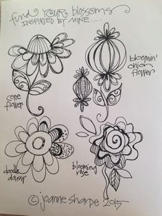 """PART ONE: Draw Inspired Blossoms (video and photos) - LESSON FIVE: """"You Blooms"""" - Bloomin' Doodles"""