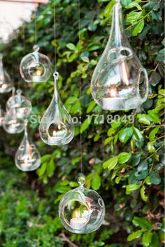 8pcs glass orb hanging candle holders,8cmx16cm teardrop glass tealight holders,wedding candlestick,home decor