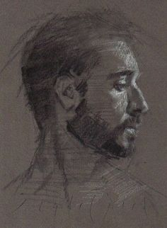 MALE PORTRAIT Young Man Profile Original Chalk Charcoal Drawing ART DANIEL PECI #Realism