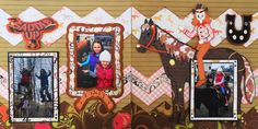 This is a fall Kiwi Lane scrapbook page idea with a horse back riding theme. I used Cricut images of a saddle, horseshoe and horse. To learn how to make this layout, go to my blog at Halloween Scrapbook 3 - with Fall & Thanksgiving - Me and My Cricut