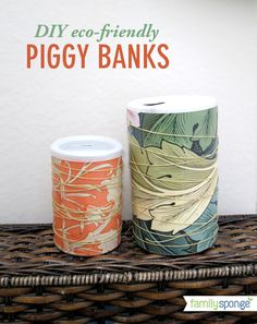 Trash to Treasure Art: DIY eco-friendly piggy banks made out of morton salt and baking powder containers.