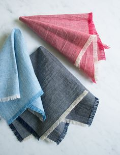 Corinne's Thread: Fringed Chambray Napkins - The Purl Bee - Knitting Crochet Sewing Embroidery Crafts Patterns and Ideas!