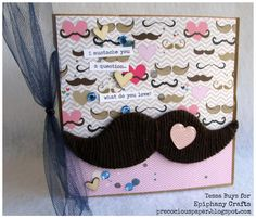 Love this mini album. The mustache was created by wrapping yarn around a die cut shape.