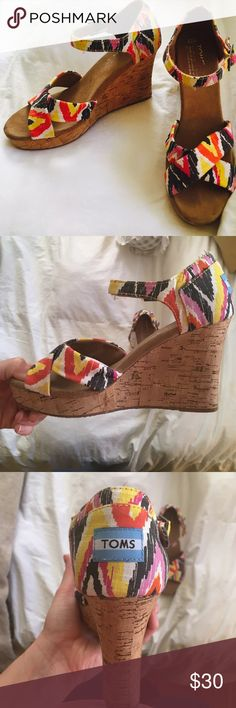 Cute TOMS Aztec Wedges! Super comfy, looks cute with jeans or a nice summer dress! They are obviously too small for my gigantic feet, but they are super cute!!! TOMS Shoes Wedges