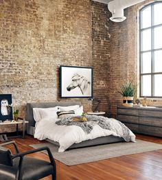 Modern Loft Bedroom Design (https://www.zinhome.com/gardiner-low-profile-upholstered-king-platform-bed/)
