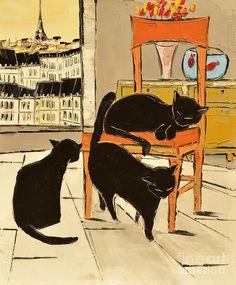 Black Cats In Paris Painting  - Black Cats In Paris Fine Art Print