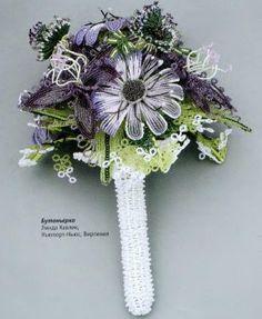 Букет свадебный из бисера   ¡ de este precioso ramo, se derivan hermosas flores de todo tipo ¡