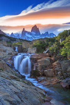 At Mount Fitz Roy in Argentina. Beautiful World, Beautiful Places, Ft Tumblr, Seen, Take Better Photos, Beautiful Waterfalls, Amazing Nature, Amazing Sunsets, Landscape Photos