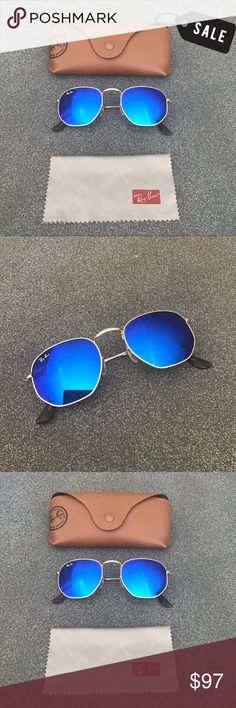 1fe67c3cbb8 RAY BAN Hexagonal Blue Gold Sunglasses SZ 51 RB 3548 51-21 - 140 Ray