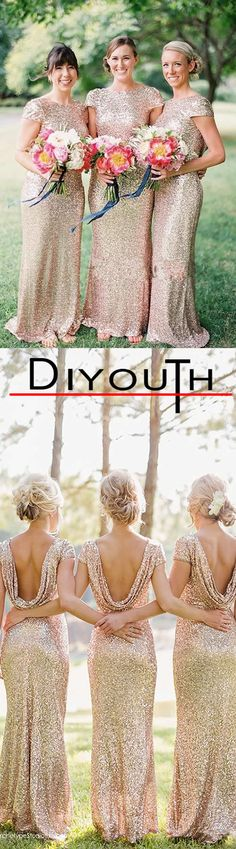DIYouth.me Sheath/Column Jewel Sweep/Brush Train Sequined Bridesmaids Dress,Mermaid/Trumpet bridesmaid dresses, modest bridesmaid gown bridesmaid dress, bridesmaid dresses