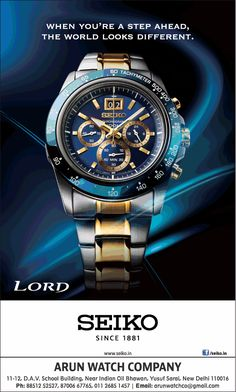 Tag Watches, Watches For Men, Watch Ad, Watch Companies, Seiko, Ads, Times, Product Photography, Flyers